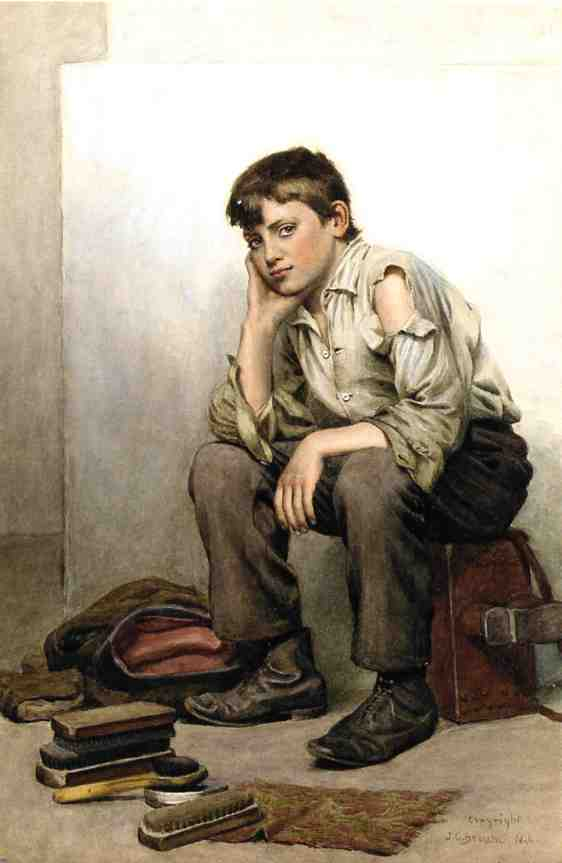 Para engraxar os sapatos Boy, tinta para aguarela por John George Brown (1831-1913, United Kingdom)