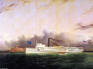 James Edward Buttersworth - O Steamboat Escort fora do Battery