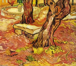 Vincent Van Gogh - a pedra Banco no jardim na Saint-Paul Hospital