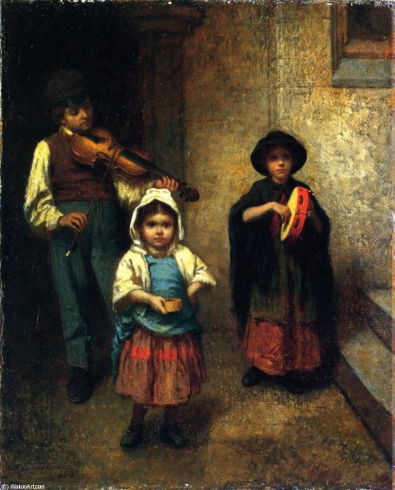 rua músicos , 1861 por Jonathan Eastman Johnson (1824-1906, United Kingdom) | WahooArt.com