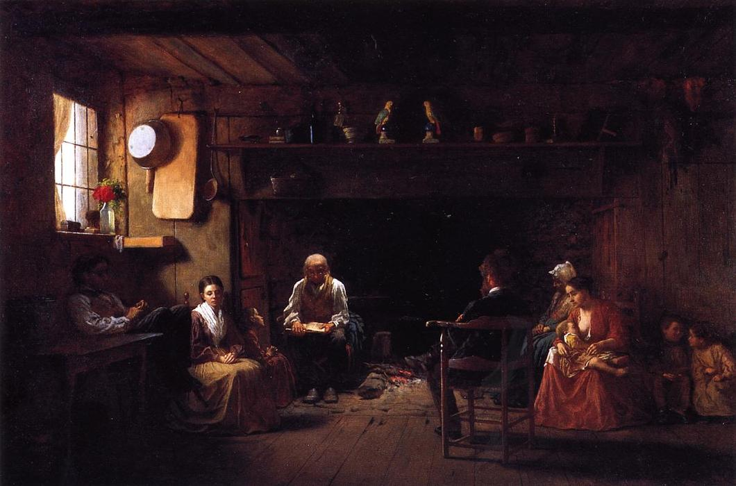 Domingo de manhã, óleo sobre a tela por Jonathan Eastman Johnson (1824-1906, United Kingdom)