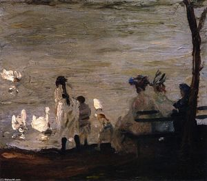George Wesley Bellows - Swans polegadas Central Parque