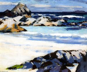 Francis Campbell Boileau Cadell - A View from Iona que olha para Lunga