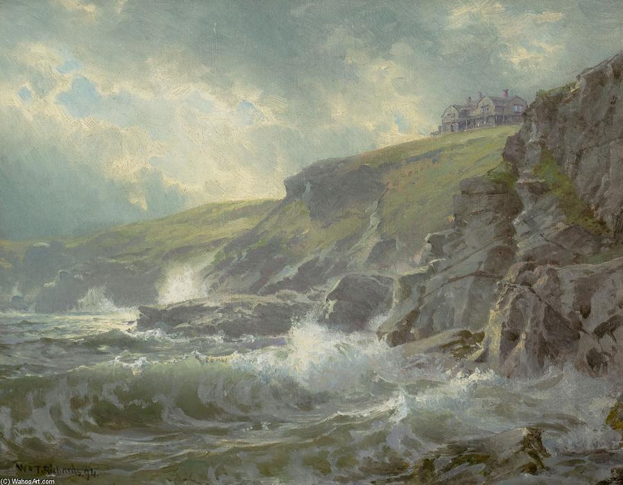 Visto do Artist`s Início , Graycliff , Newport , Rhode Ilha, 1894 por William Trost Richards (1833-1905, United States) | Reproduções De Pinturas William Trost Richards | WahooArt.com