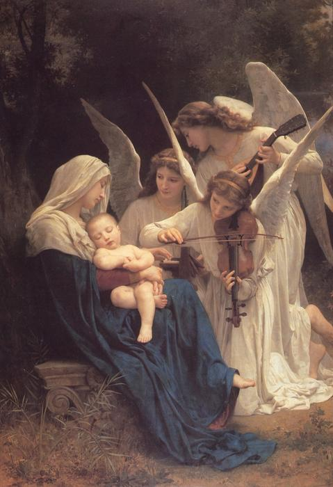 a virgem com anjos, 1881 por William Adolphe Bouguereau (1825-1905, France) | Copy Pintura | WahooArt.com