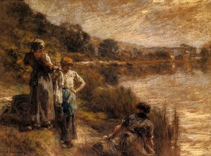 Léon Augustin L'hermitte - Lavadeiras on o Banks of marne