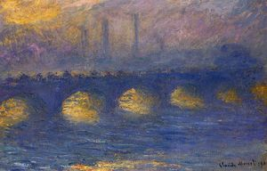 Claude Monet - Ponte de Waterloo escuro  clima