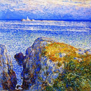 Frederick Childe Hassam - White Island Luz, Ilhas de Shoals, no Sundown