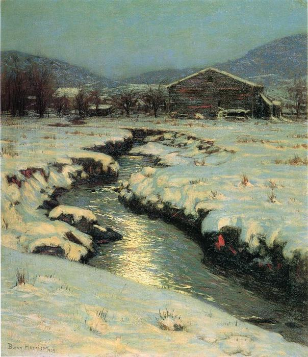 Woodstock meadows no inverno, 1909 por Lowell Birge Harrison (1854-1929, United States) | WahooArt.com