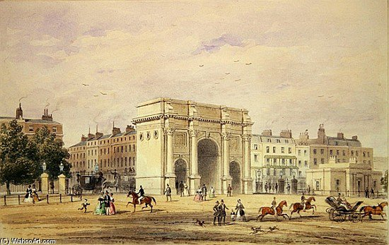 O Marble Arch por Thomas Hosmer Shepherd (1792-1864, United Kingdom)