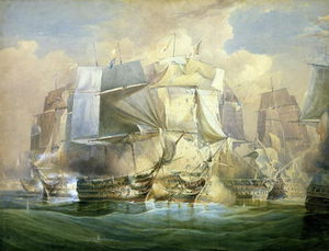 William John Huggins - Ele batalha de Trafalgar, The Beginning Of The Ação, 21 de outubro
