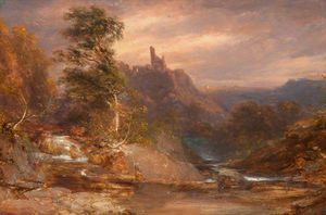 James William Giles - sunset over o rio Divie , Dunphail