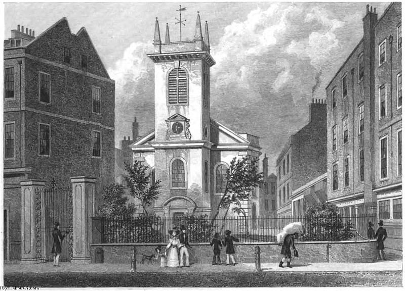 St Olave Old Jewry por Thomas Hosmer Shepherd (1792-1864, United Kingdom)