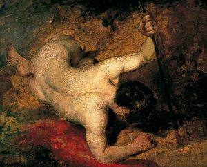 William Etty - Encostado Male Nude Com Lança