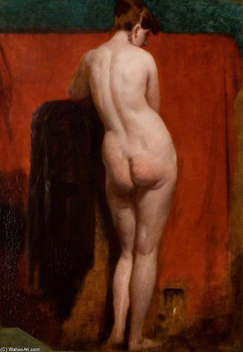 De pé nu feminino -   por William Etty (1787-1849, United Kingdom) | Reproduções De Pinturas William Etty | WahooArt.com