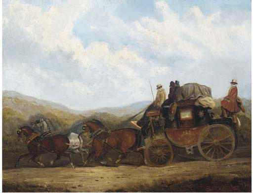 The London Para Treinador Dorking; E The Coach Londres, Gloucester, Hereford E Aberystwyth por Charles Cooper Henderson (1803-1877, United Kingdom)
