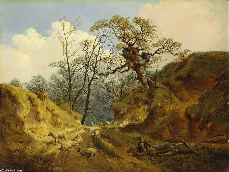 Crown Point, Whitlingham, Perto Norwich por John Berney Ladbrooke (1803-1879, United Kingdom)