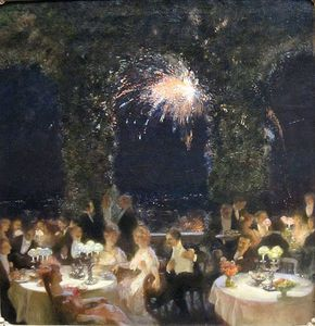 Gaston De La Touche - Jantar no Cassino , óleo sobre tela pintura de GASTON LA TOUCHE
