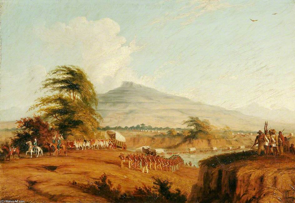 Forças sob o comando do tenente-general Cathcart que cruza o Rio Orange, na África do Sul, atacar Moshesh por Thomas Baines (1820-1875, United Kingdom)
