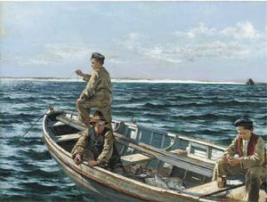 William Henry Bartlett - pescaria fora  o  costa  dos  irlanda