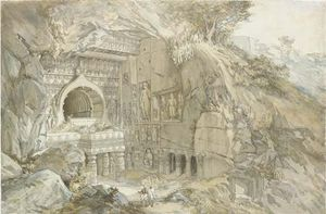 William Simpson - Budista corte da rocha Templo , Ajanta