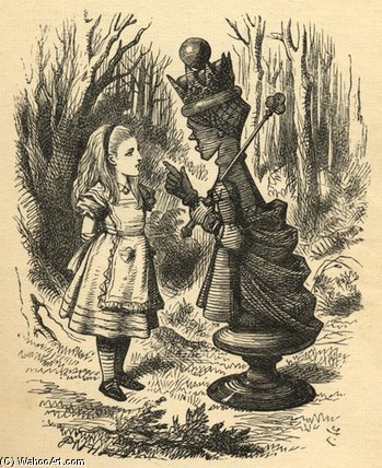 Alice e o rainha vermelha por John Tenniel (1820-1914, United Kingdom)