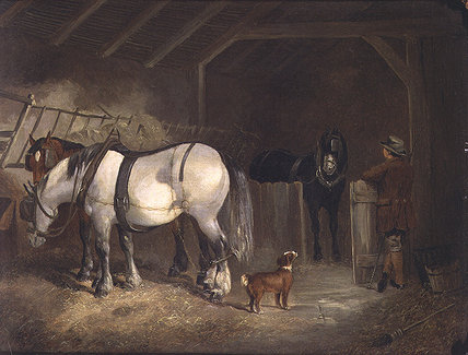 A Stable Interior por Joseph Clark (1844-1890, United Kingdom)