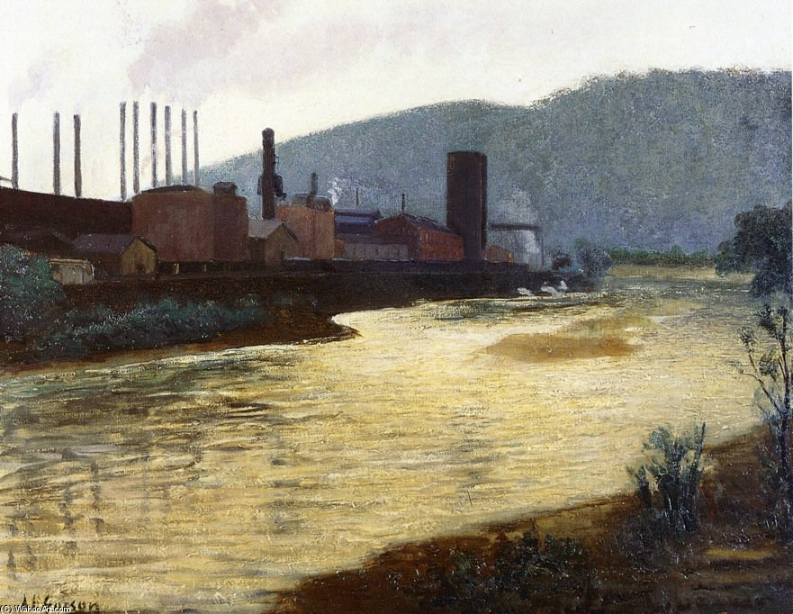 Monongahela Rio , Pittsburgh , Jones e steel plant laughlin por Aaron Harry Gorson (1872-1933, Lithuania)