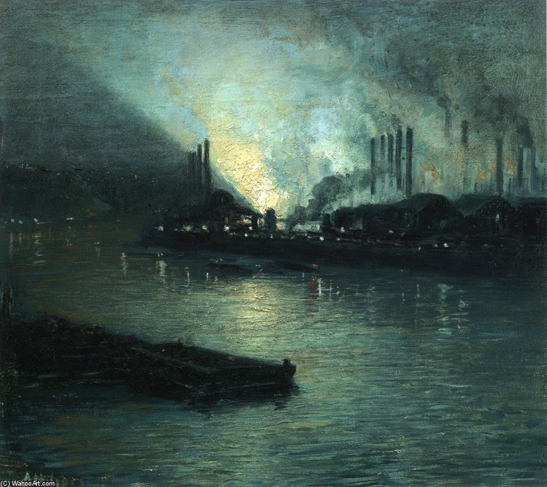 Pittsburgh industrial Nocturne por Aaron Harry Gorson (1872-1933, Lithuania)