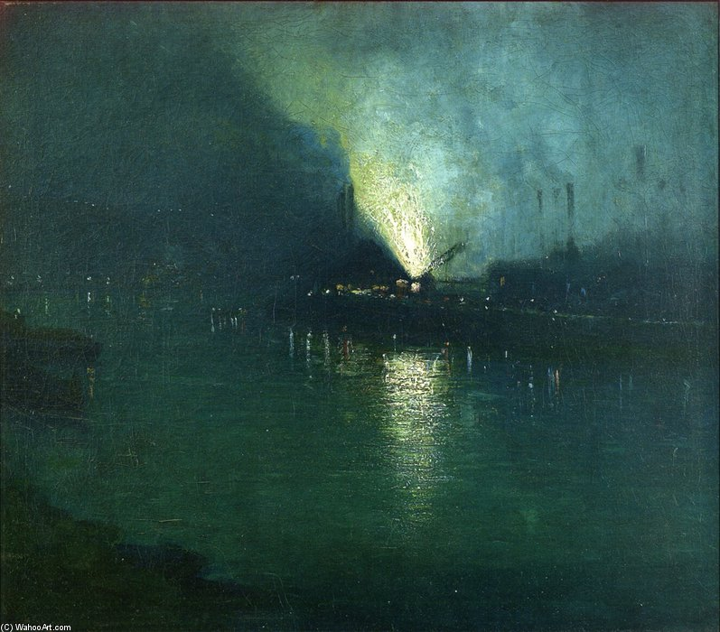 Aço Mills - Nocturne, Pittsburgh por Aaron Harry Gorson (1872-1933, Lithuania)