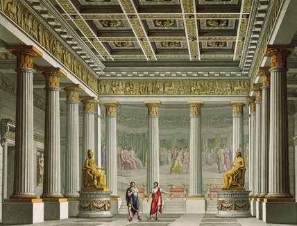 A audiência Salão In The Palace Of Aegistheus por Alessandro Sanquirico (1777-1849, Italy)