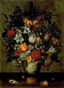 Ambrosius Bosschaert The Younger - chinês recipiente  com  flores