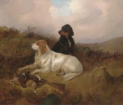 Setters guardando o saco por Colin Graeme Roe (1858-1910, United Kingdom)