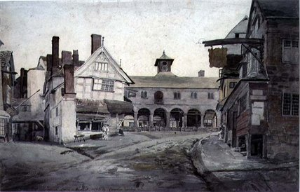 o place market , Ross , Herefordshire por Cornelius Varley (1781-1873, United Kingdom)