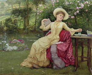 Edward Killingworth Johnson - beber café e  leitura