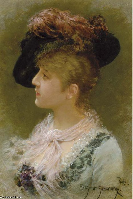 The Feathered Hat por Emile Eisman Semenowsky (1859-1911)