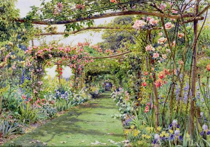O Rose Pergola por Ernest Arthur Rowe (1863-1922, United Kingdom)