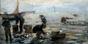 Frederick William Jackson - costa cena com  Pescadores