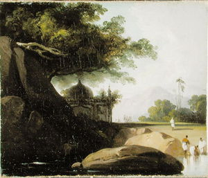 George Chinnery - paisagem indian Com Templo , C . 1815
