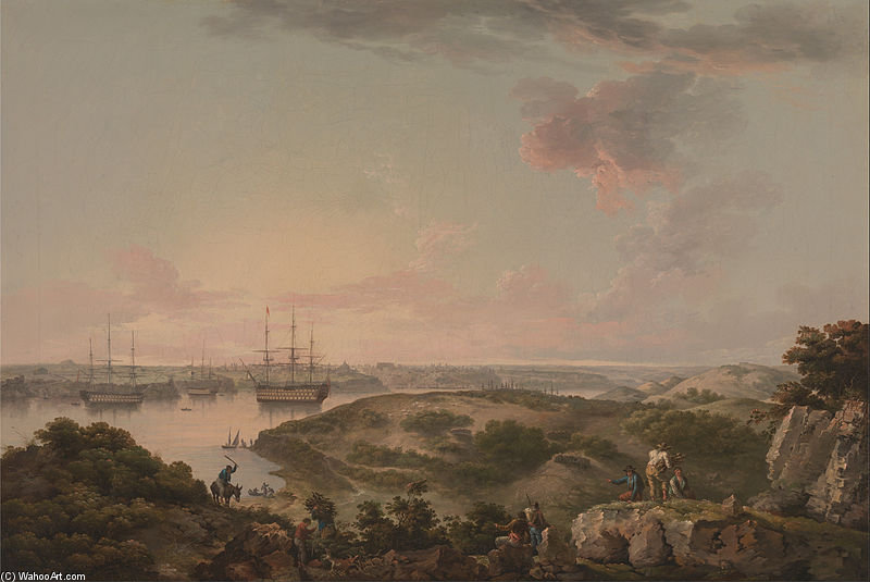 Abrigo Mahon , Minorca com a british Men-of-war na escora - Google projeto de arte por John Thomas Serres (1759-1825, United Kingdom)