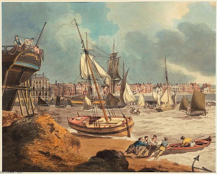 o harbour em weymouth por John Thomas Serres (1759-1825, United Kingdom)