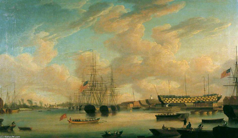Vista No Tamisa em Deptford Dockyard por John Thomas Serres (1759-1825, United Kingdom)