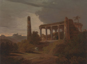 Thomas And William Daniell - paisagem indian com  Templo  ruínas