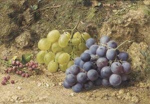 William Henry Hunt - Still-life com branco e preto Uvas e Redcurrents