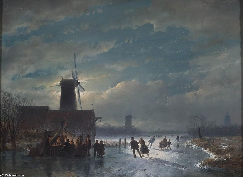 Paisagem do inverno com koek En Zopie At Night por Andreas Schelfhout (1787-1870, Netherlands) | WahooArt.com