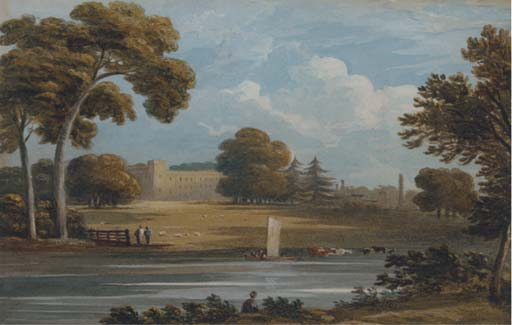 Syon Casa do Thames por Cornelius Varley (1781-1873, United Kingdom)