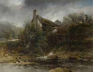 Frederick Waters (William) Watts - Um Watermill perto Totnes, Devon