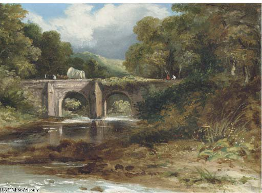 cruzando o Ponte  por Frederick Waters (William) Watts (1800-1870, United Kingdom) | Cópias Da Arte Na Tela | WahooArt.com