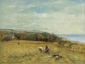 Frederick Waters (William) Watts - Ceifeiras em um milharal On The Isle Of Wight