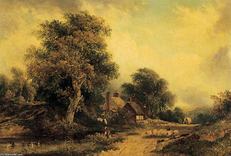 paisagem -   por Frederick Waters (William) Watts (1800-1870, United Kingdom) | Museu De Reproduções De Arte Frederick Waters (William) Watts | WahooArt.com
